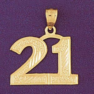 Number 21 Charm Pendant 14k Gold