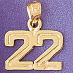 Number 22 Charm Pendant 14k Gold