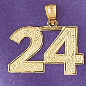 Number 24 Charm Pendant 14k Gold
