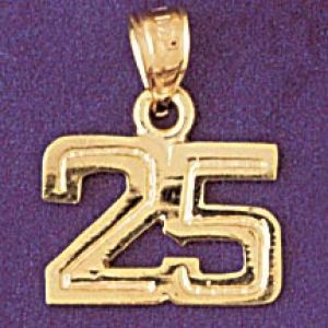Number 25 Charm Pendant 14k Gold
