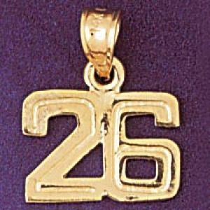 Number 26 Charm Pendant 14k Gold