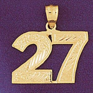 Number 27 Charm Pendant 14k Gold
