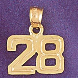 Number 28 Charm Pendant 14k Gold