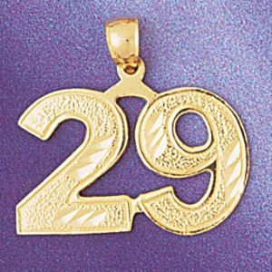 Number 29 Charm Pendant 14k Gold