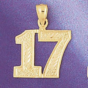 Number 17 Charm Pendant 14k Gold