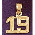 Number 19 Charm Pendant 14k Gold