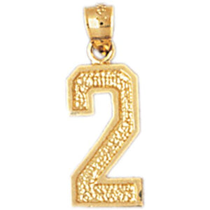 Number 2 Charm Pendant 14k Gold