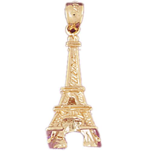 3D Eiffel Tower Charm Pendant 14k Gold