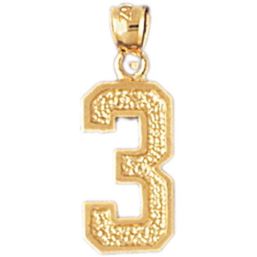 Number 3 Charm Pendant 14k Gold