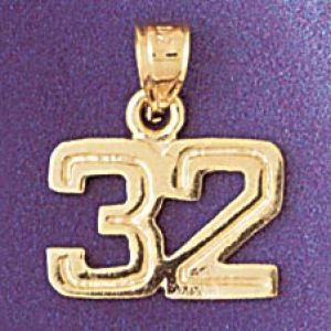 Number 32 Charm Pendant 14k Gold