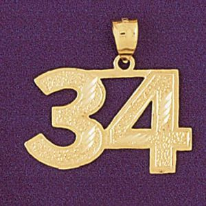 Number 34 Charm Pendant 14k Gold