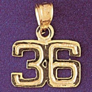Number 36 Charm Pendant 14k Gold