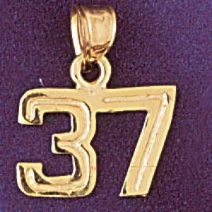 Number 37 Charm Pendant 14k Gold