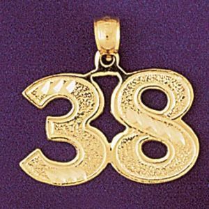 Number 38 Charm Pendant 14k Gold