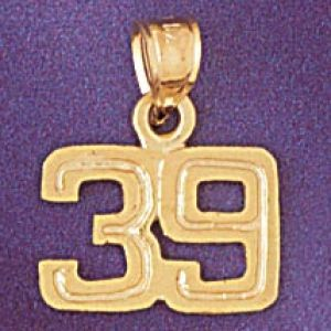 Number 39 Charm Pendant 14k Gold
