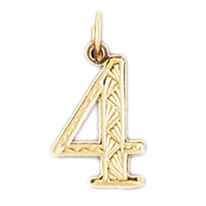 Number 4 Charm Pendant 14k Gold