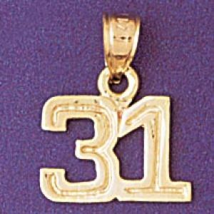 Number 31 Charm Pendant 14k Gold