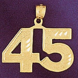 Number 45 Charm Pendant 14k Gold