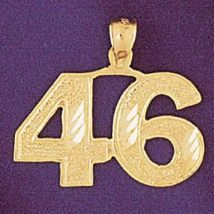 Number 46 Charm Pendant 14k Gold