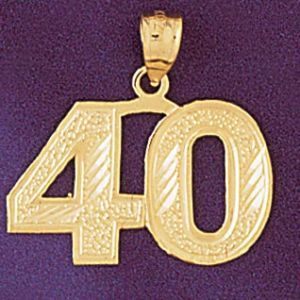 Number 40 Charm Pendant 14k Gold