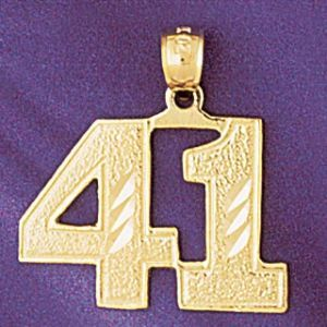 Number 41 Charm Pendant 14k Gold