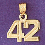 Number 42 Charm Pendant 14k Gold