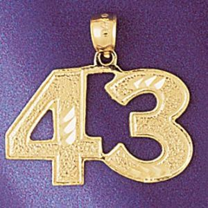 Number 43 Charm Pendant 14k Gold