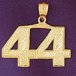 Number 44 Charm Pendant 14k Gold