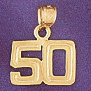 Number 50 Charm Pendant 14k Gold