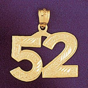Number 52 Charm Pendant 14k Gold