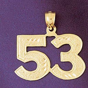 Number 53 Charm Pendant 14k Gold