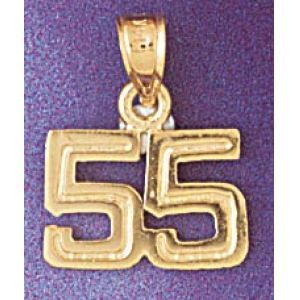 Number 55 Charm Pendant 14k Gold