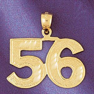 Number 56 Charm Pendant 14k Gold