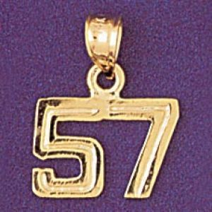 Number 57 Charm Pendant 14k Gold