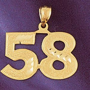 Number 58 Charm Pendant 14k Gold