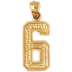 Number 6 Charm Pendant 14k Gold