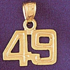 Number 49 Charm Pendant 14k Gold