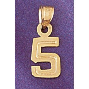 Number 5 Charm Pendant 14k Gold