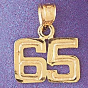 Number 65 Charm Pendant 14k Gold