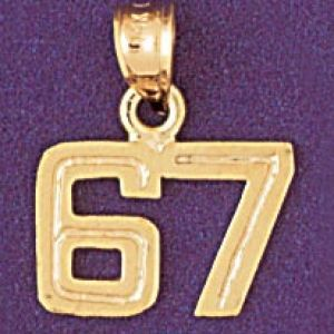 Number 67 Charm Pendant 14k Gold