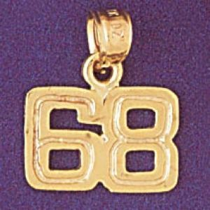 Number 68 Charm Pendant 14k Gold
