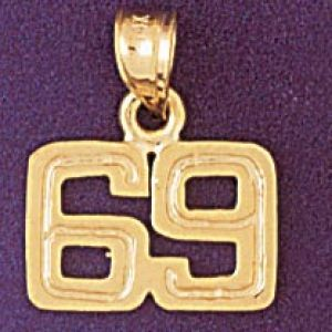 Number 69 Charm Pendant 14k Gold