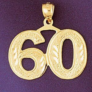 Number 60 Charm Pendant 14k Gold