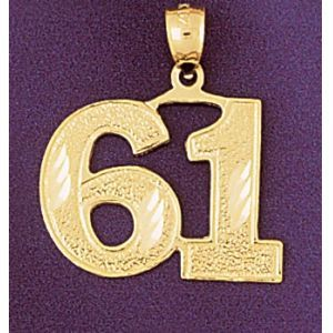 Number 61 Charm Pendant 14k Gold