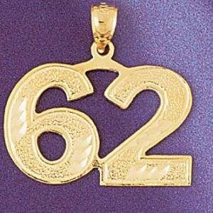 Number 62 Charm Pendant 14k Gold