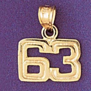 Number 63 Charm Pendant 14k Gold
