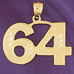 Number 64 Charm Pendant 14k Gold