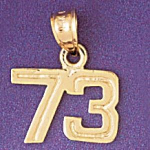 Number 73 Charm Pendant 14k Gold
