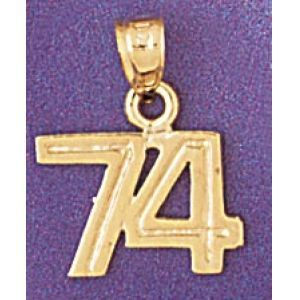 Number 74 Charm Pendant 14k Gold