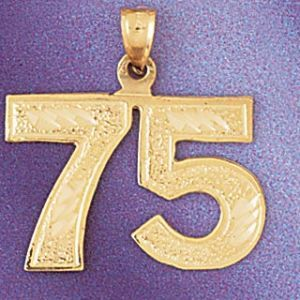 Number 75 Charm Pendant 14k Gold